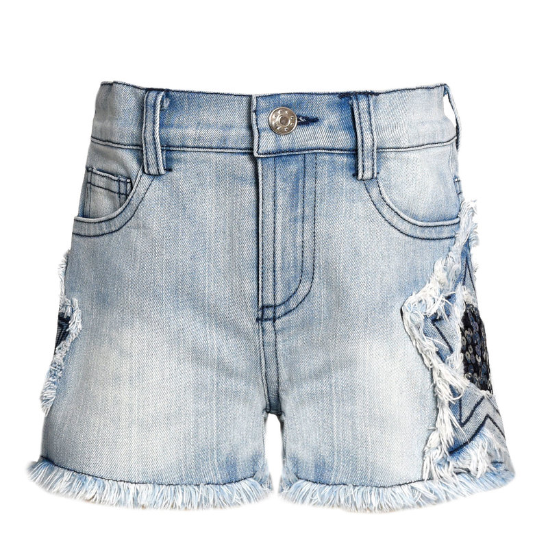 Baby Sara STONE WASH DENIM SHORTS W STAR TRIM DETAIL