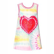 Baby Sara TIE-DYE HEART PRINT A-LINE DRESS
