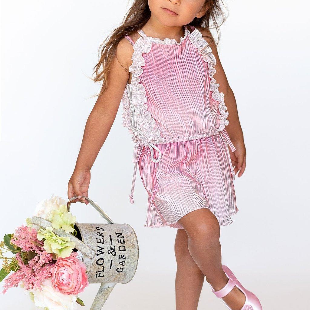Baby Sara PLEATED RUFFLE ROMPER- PINK MULTI