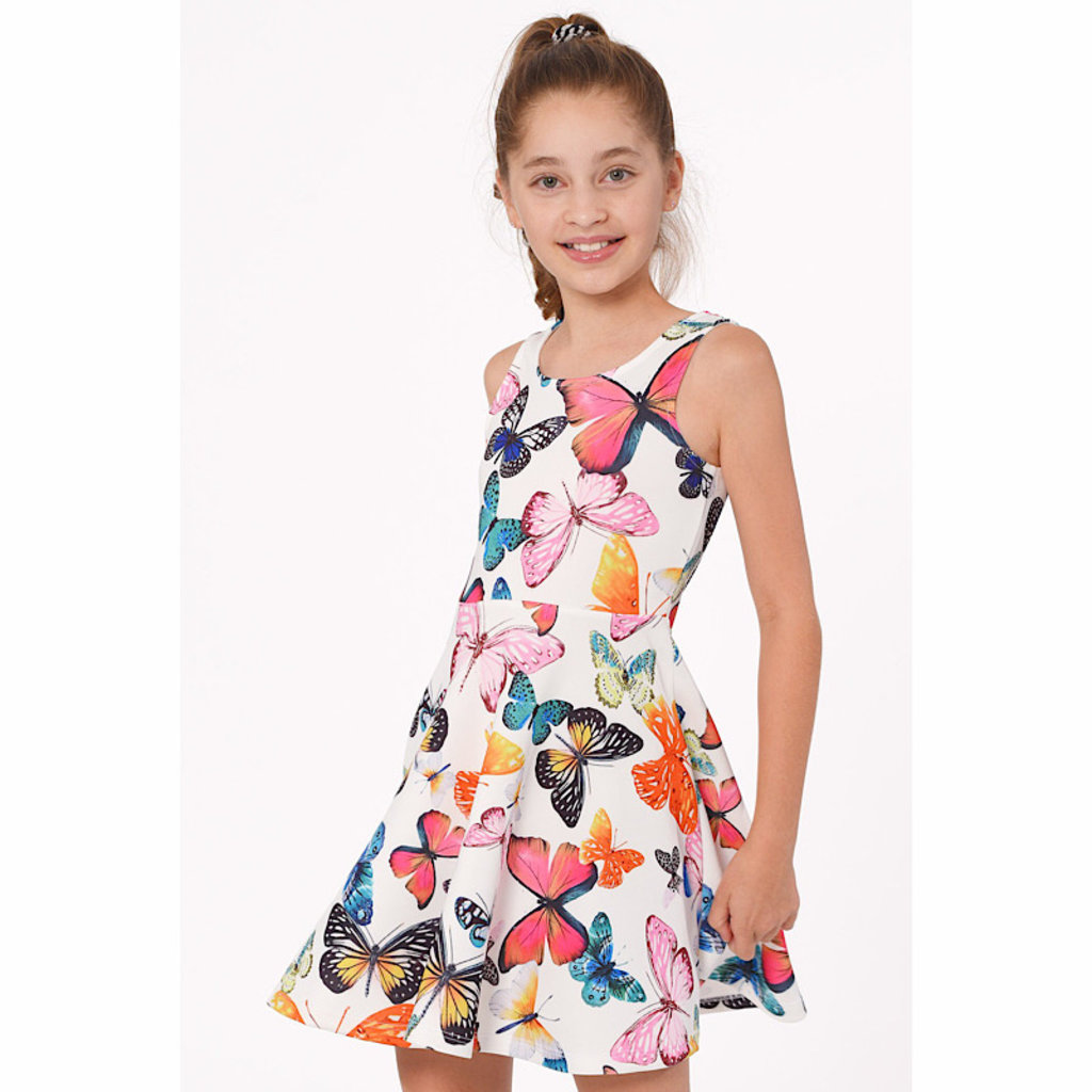 Hannah Banana BUTTERFLY PRINT FIT AND FLARE SKATER DRESS