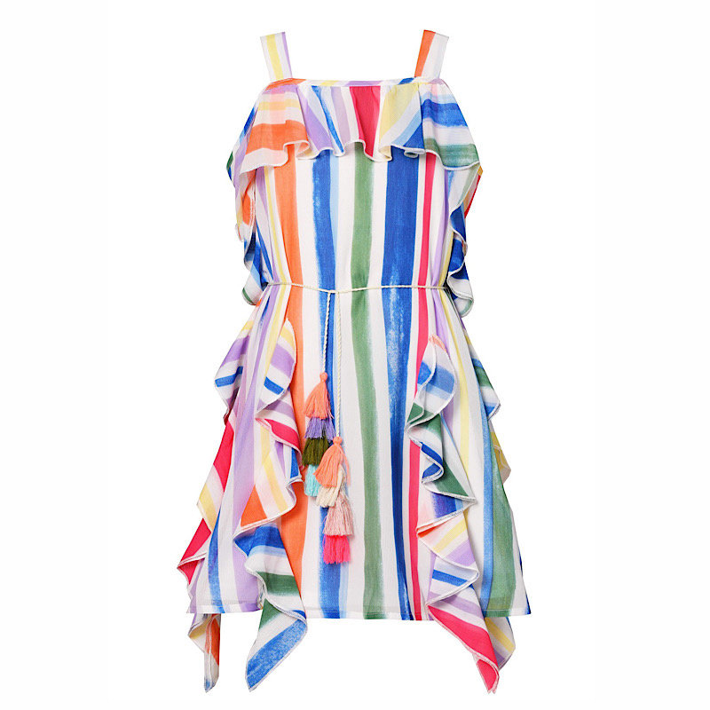 Hannah Banana COLORFUL STRIPE RUFFLED COLD-SHOULDER CHIFFON DRESS