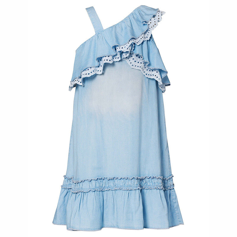 Hannah Banana RUFFLED ONE-SHOULDER WASHED CHAMBRAY DRESS