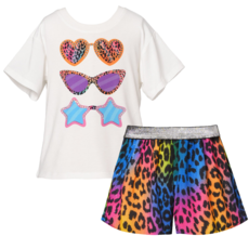 Hannah Banana FASHION SUNGLASS GRAPHIC TEE AND ANIMAL PRINT SHORTS