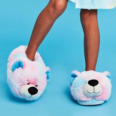 ISCREAM PINK AND BLUE TIE DYE BEAR SLIPPERS- SMALL/MEDIUM
