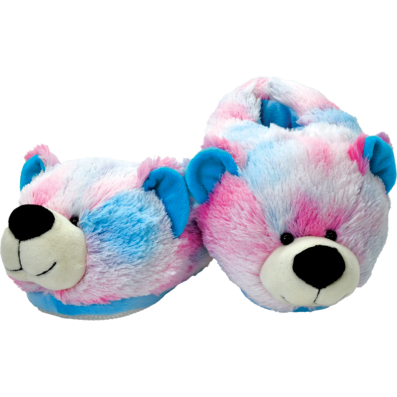 ISCREAM PINK AND BLUE TIE DYE BEAR SLIPPERS- SMALL/MEDIUM