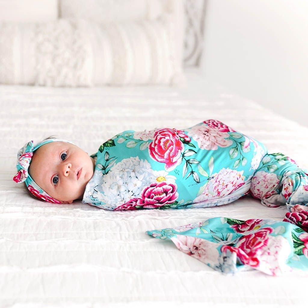 POSH PEANUT ELOISE - INFANT SWADDLE AND HEADWRAP SET