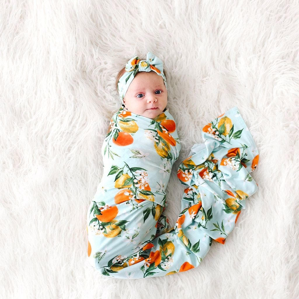 POSH PEANUT MIRABELLA - INFANT SWADDLE AND HEADWRAP SET