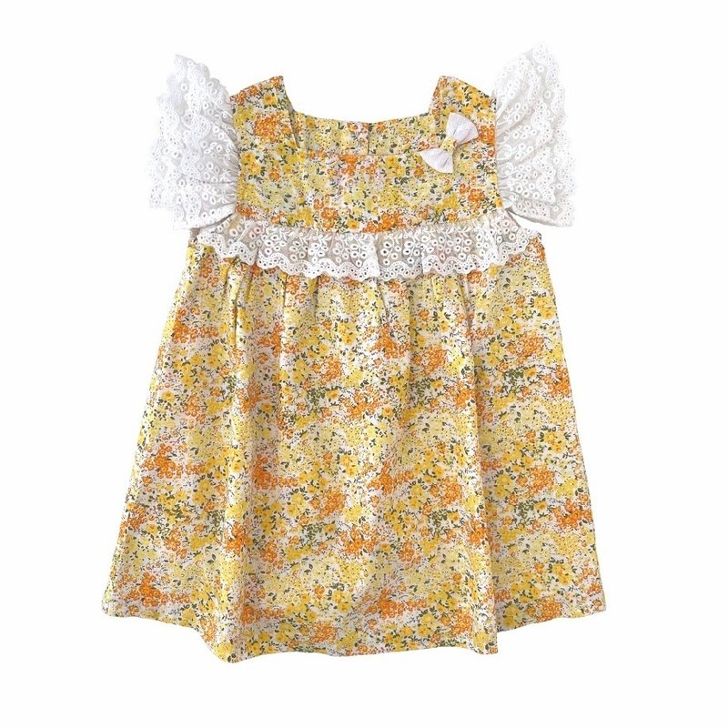 REN AND ROUGE FLORAL LACE RUFFLE DRESS