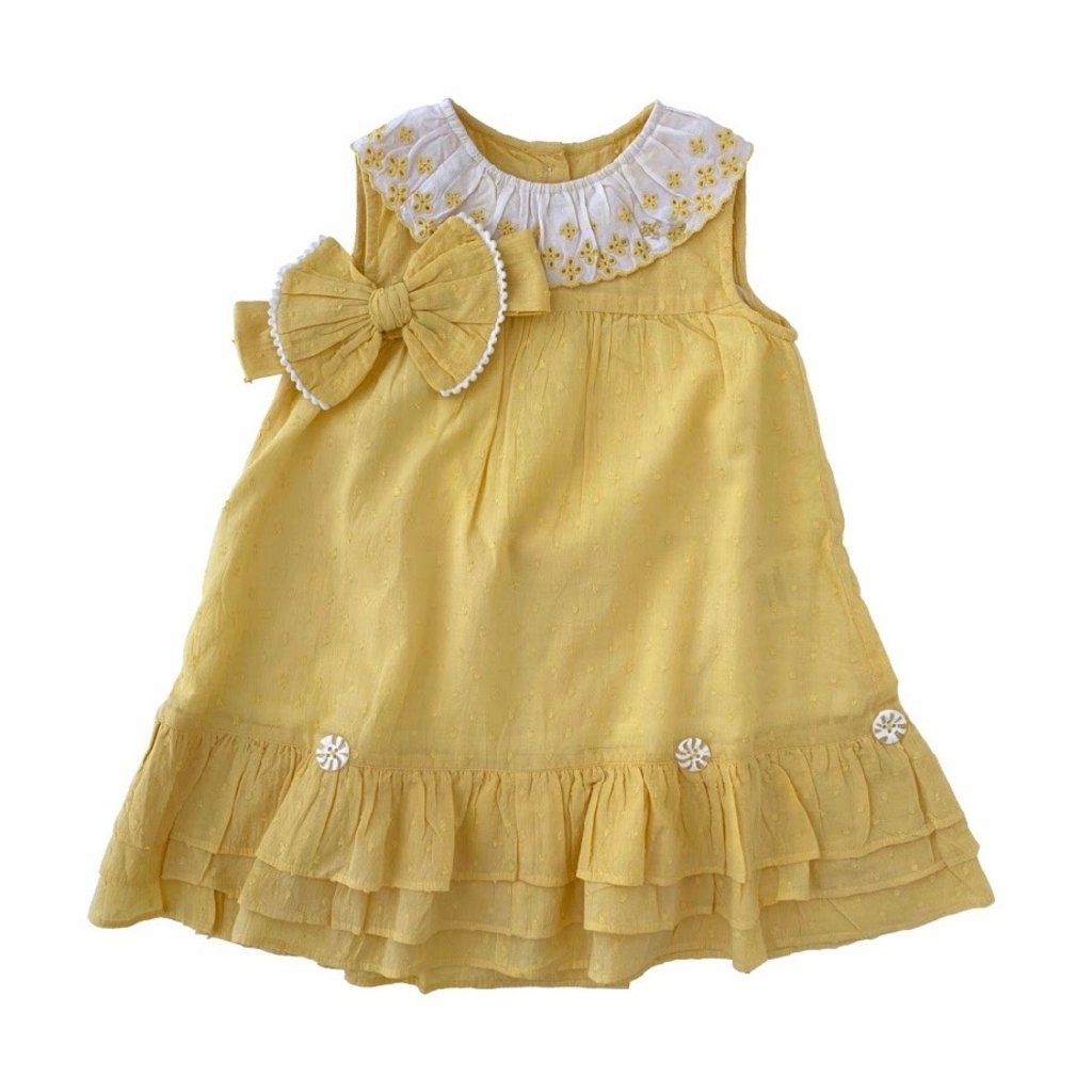 REN AND ROUGE EMBROIDERED LEMON DRESS