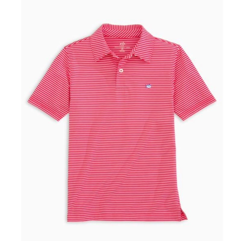 SOUTHERN TIDE Y SS DRIVER STRIPE PERF POLO- AMARYLLIS PINK