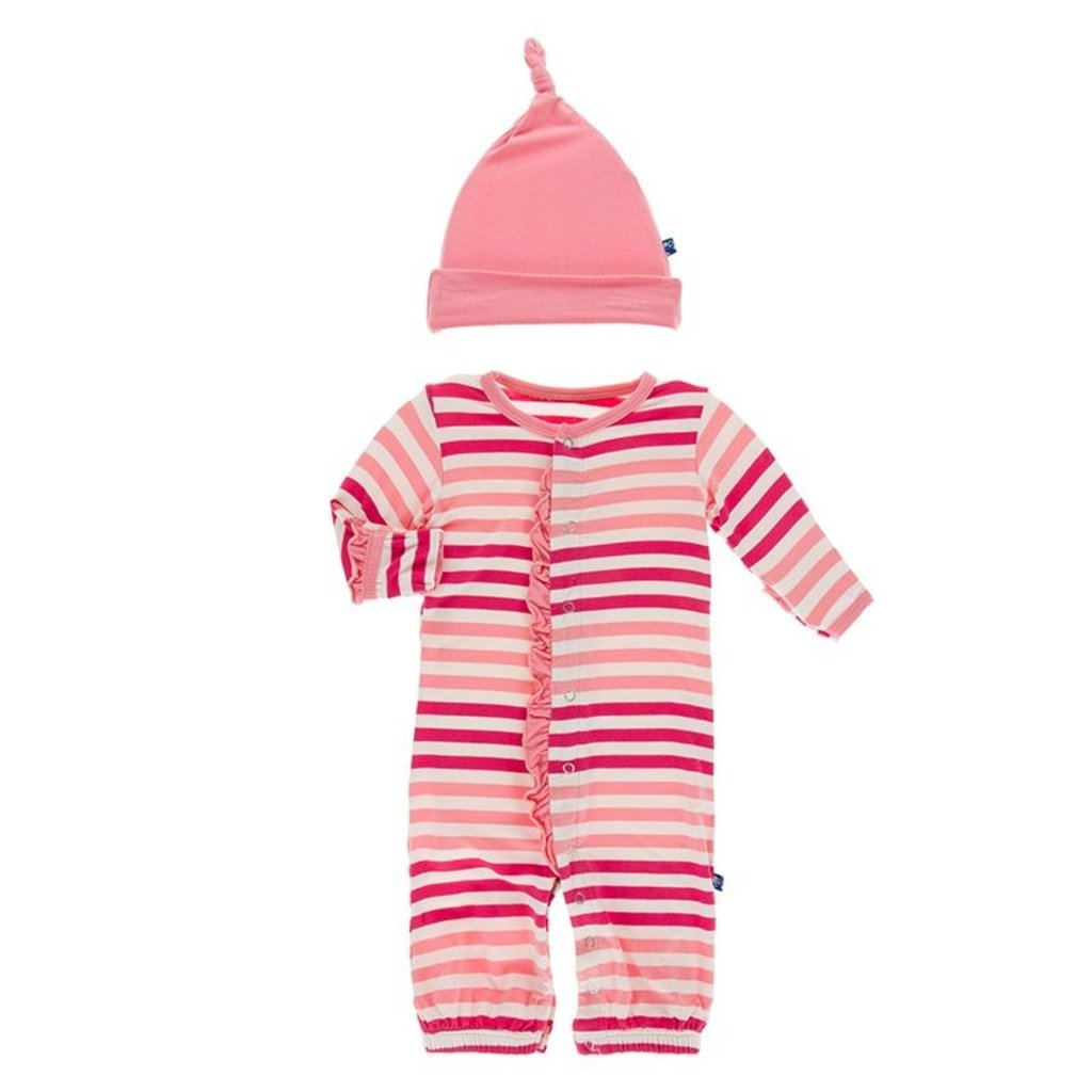 KICKEE PANTS PRINT RFFL GOWN CONV AND HAT SET- FOREST FRUIT STRIPE