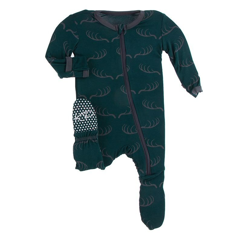 KICKEE PANTS PRINT FOOTIE W ZIPPER- PINE DEER RACK