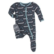 KICKEE PANTS PRINT FOOTIE W ZIPPER- STONE PADDLES AND CANOE