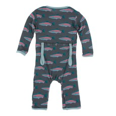 KICKEE PANTS PRINT COVERALL W ZIPPER- STONE RAINBOW TROUT