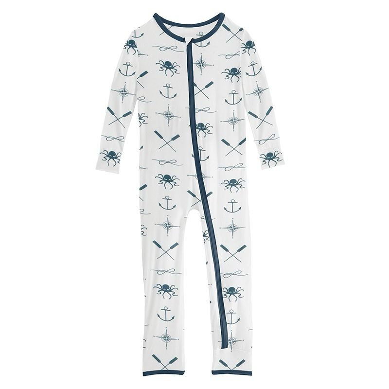 KICKEE PANTS PRINT COVERALL W ZIPPER- NATURAL CAPTAIN AND CREW