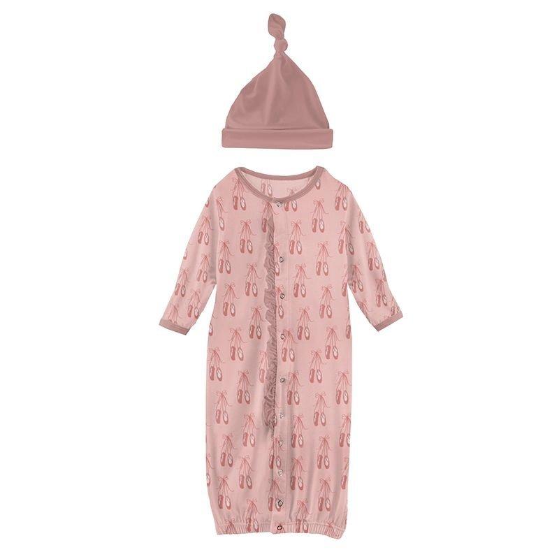 KICKEE PANTS PRINT RFFL GOWN CONV AND HAT SET- BABY ROSE BALLET