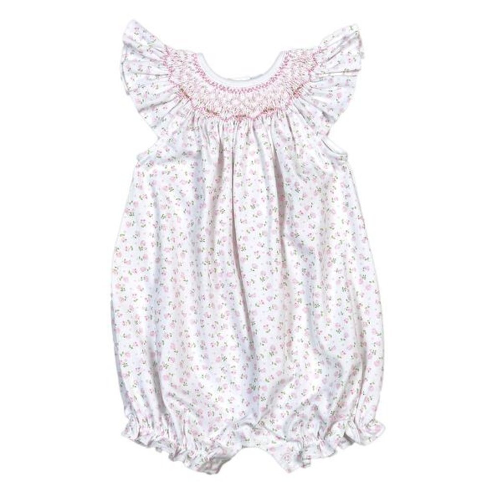 BABY BLISS COLLECTION ALICE PINK FLORAL PIMA HAND SMOCKED BISHOP BUBBLE