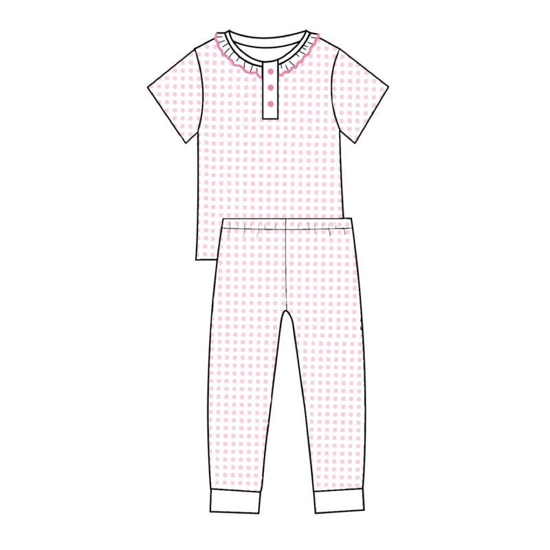 BABY BLISS COLLECTION OLIVIA PINK GINGHAM PIMA LOUNGEWEAR
