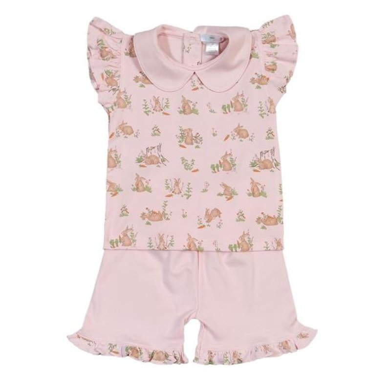 BABY BLISS COLLECTION PINK BUNNIES PIMA SHORT SET