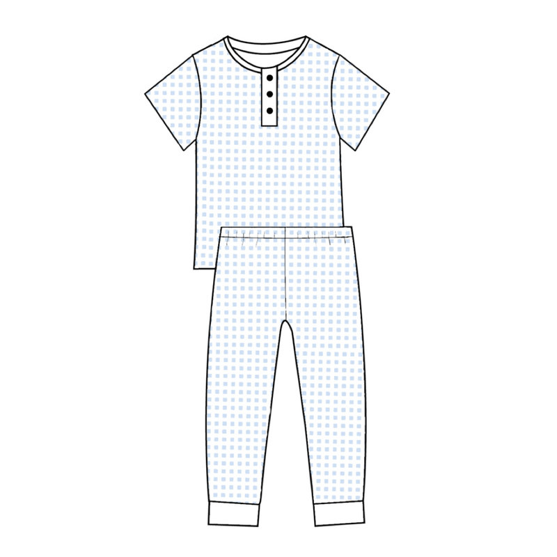 BABY BLISS COLLECTION PETER BLUE GINGHAM PIMA LOUNGEWEAR