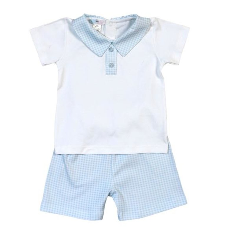 BABY BLISS COLLECTION PETER BLUE GINGHAM PIMA SHORT SET