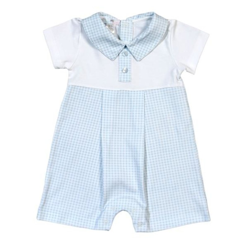 BABY BLISS COLLECTION PETER BLUE GINGHAM PIMA PLAYSUIT