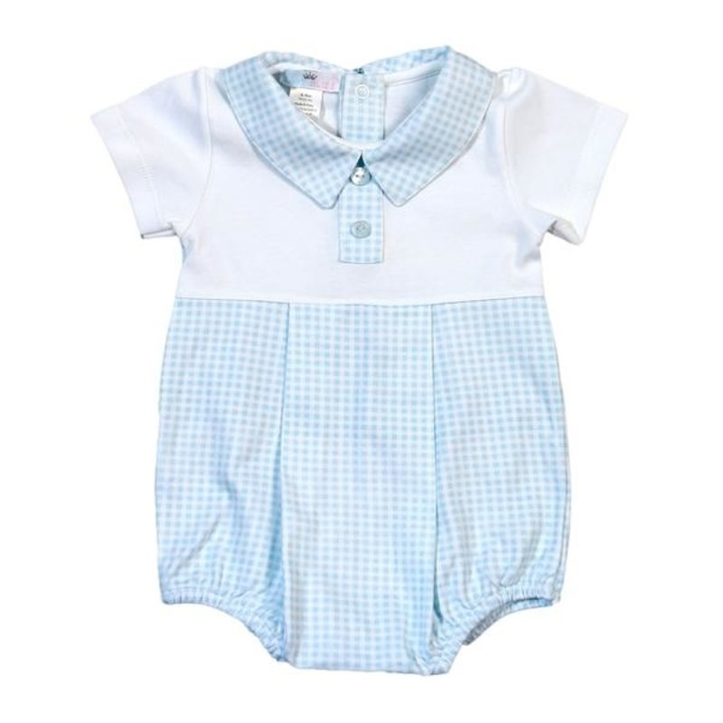 BABY BLISS COLLECTION PETER BLUE GINGHAM PIMA BUBBLE