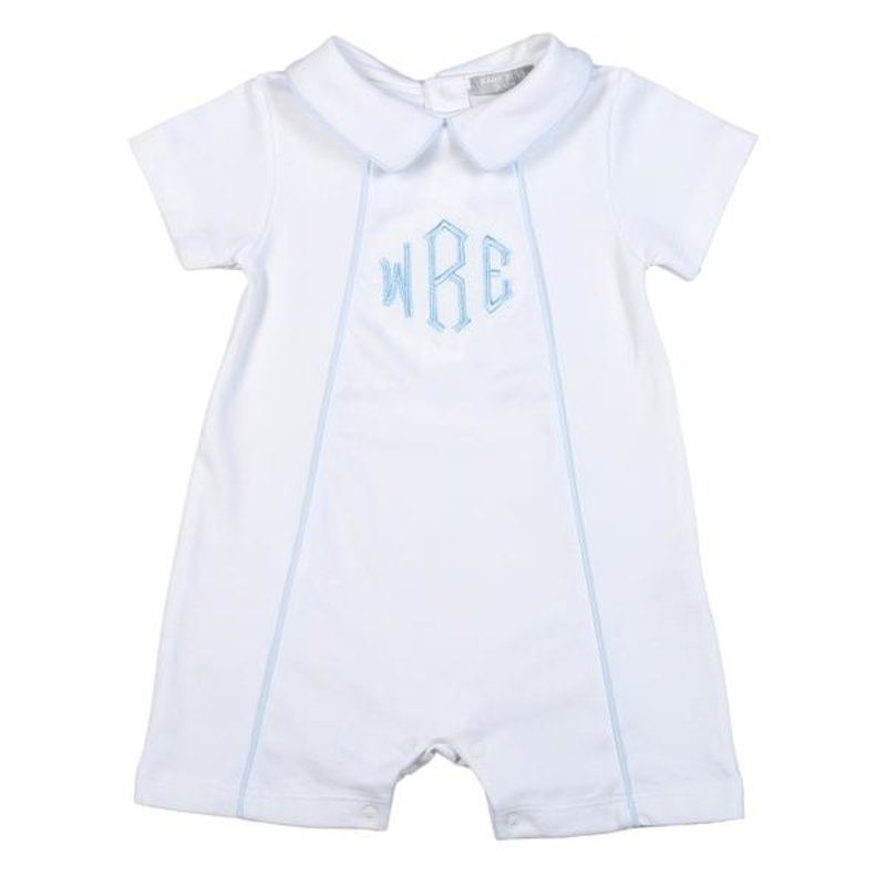 BABY BLISS COLLECTION THOMAS WHITE/BLUE TRIM PIMA PLAYSUIT