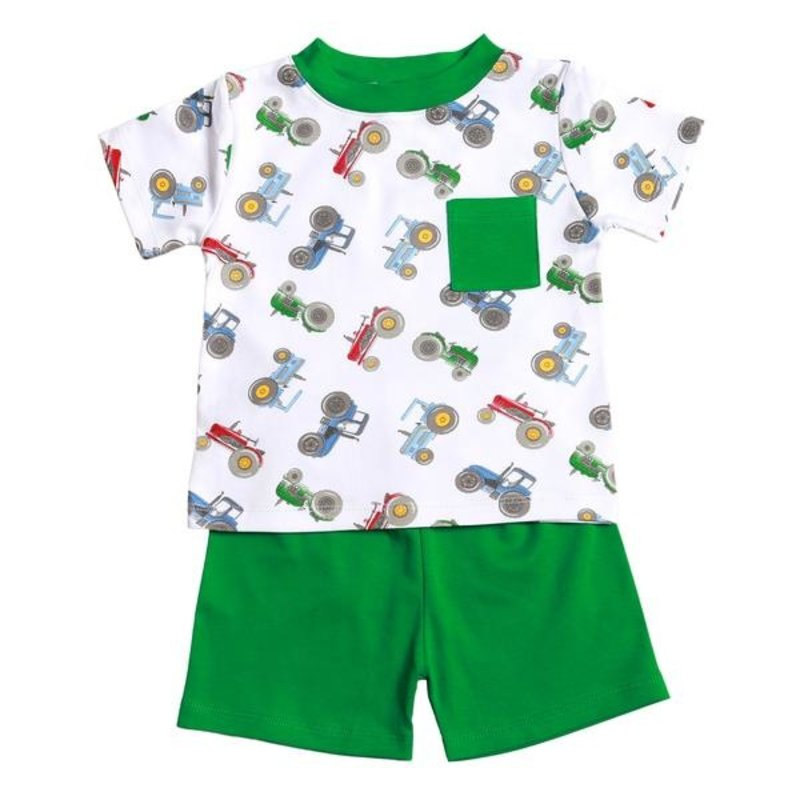 BABY BLISS COLLECTION TRACTOR COLLECTION PIMA SHORT SET
