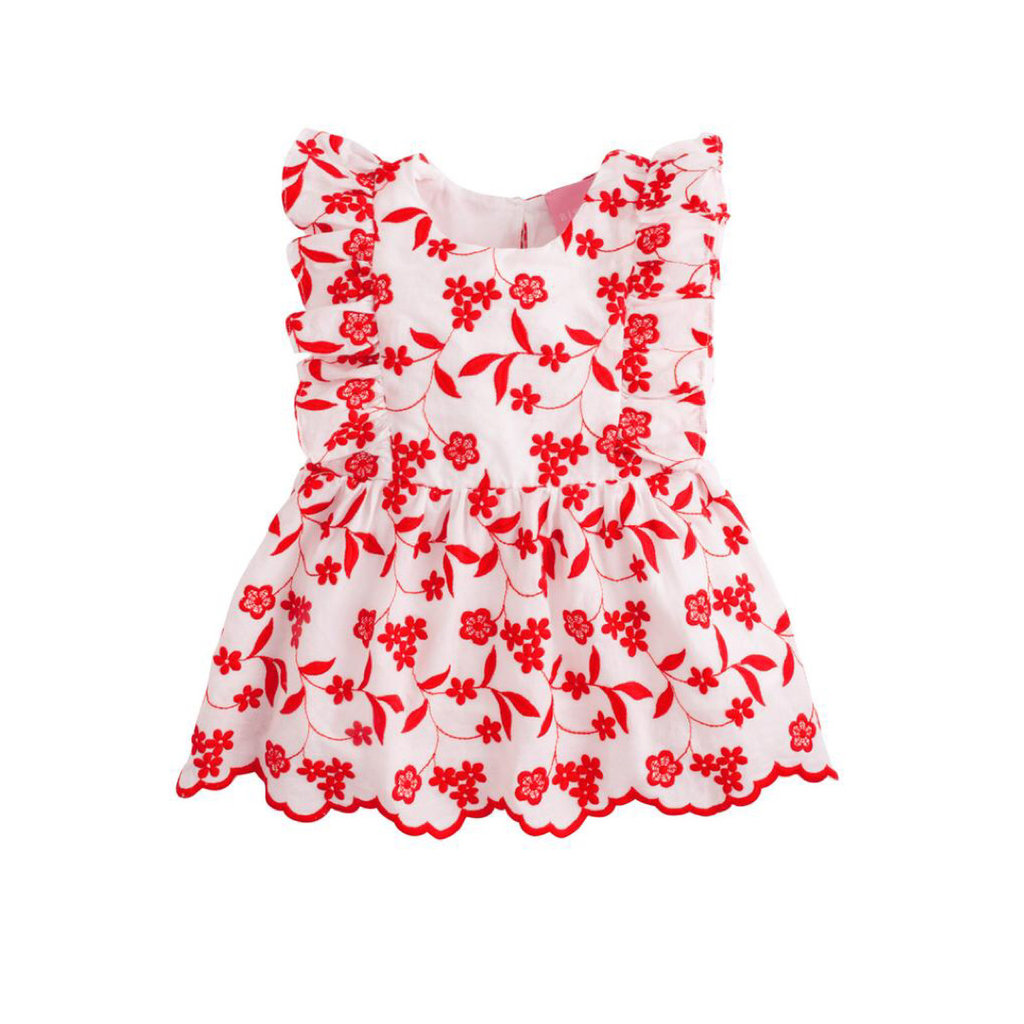 LITTLE ENGLISH DIANA TOP- RED FLORAL EMBROIDERY