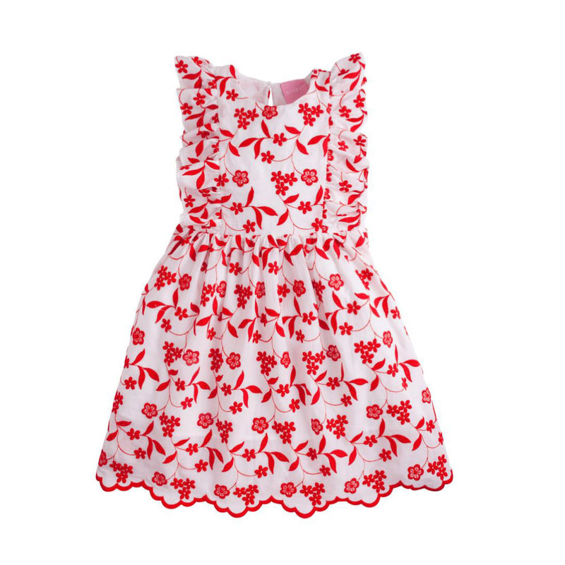 LITTLE ENGLISH DIANA DRESS- RED FLORAL EMBROIDERY