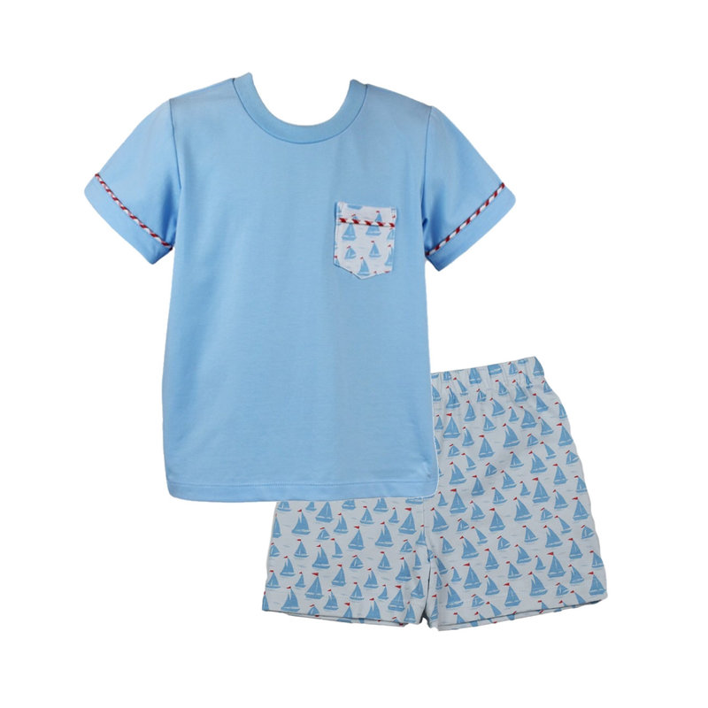 LULLABY SET CHARLIE SHIRT AND STEWART SHORT- ANCHORS AWEIGH