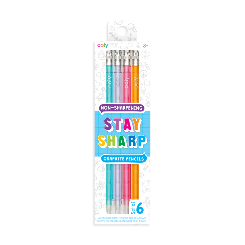 OOLY STAY SHARP RAINBOW PENCILS- SET OF 6