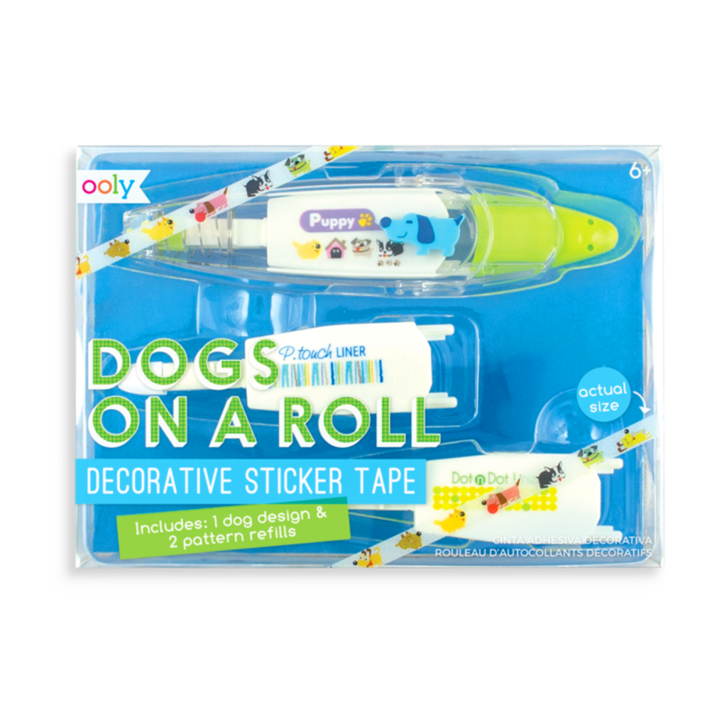 OOLY DECORATIVE STICKER TAPE AND REFILLS- DOGS ON A ROLL