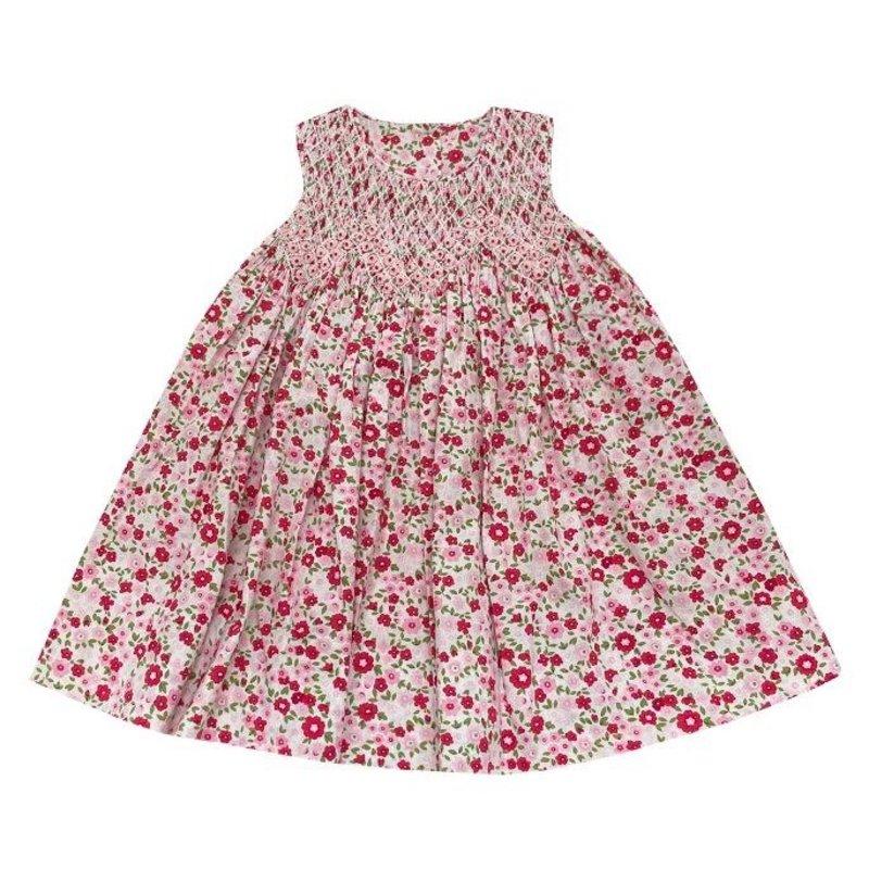 DELANEY RED/PINK FLORAL SMOCKED SLEEVELESS DRESS