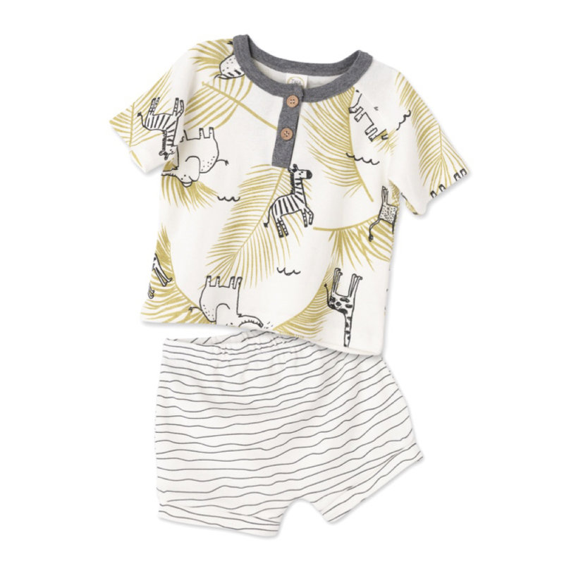 TESA BABE WILD SAFARI HENLEY T-SHIRT AND SHORTS