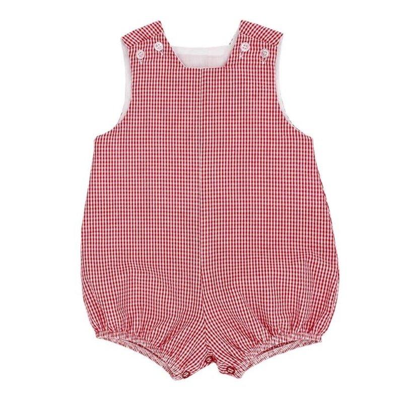 BAILEY BOYS RED CHECK SEERSUCKER SHORT INFANT BUBBLE