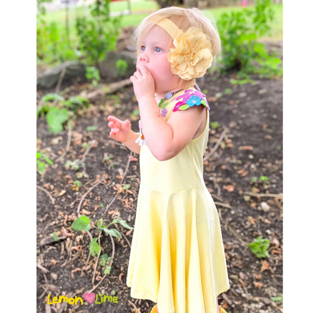 LEMON LOVES LIME DANCING FLORAL DRESS- BUTTER