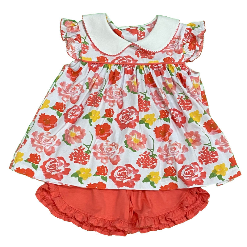 SAGE & LILLY KEY WEST CORAL/ABI ANGEL WING BLOOMER/SHORT SET