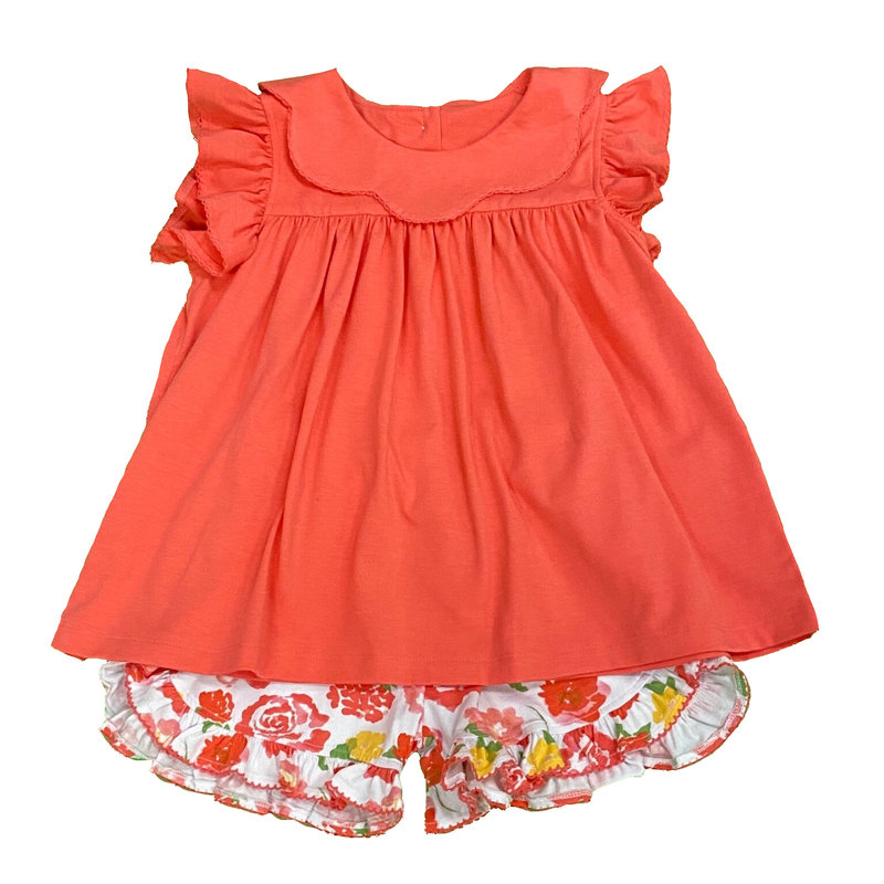 SAGE & LILLY KEY WEST CORAL SCALLOP COLLAR ANGEL WING SHORT SET