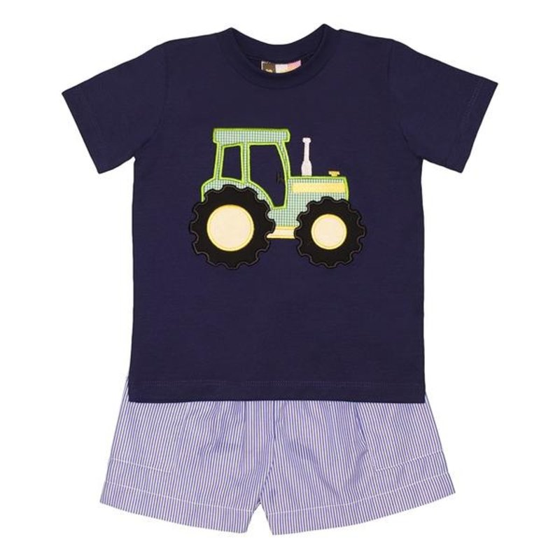 BANANA SPLIT TRACTOR APPLIQUE BOYS SHORT SET