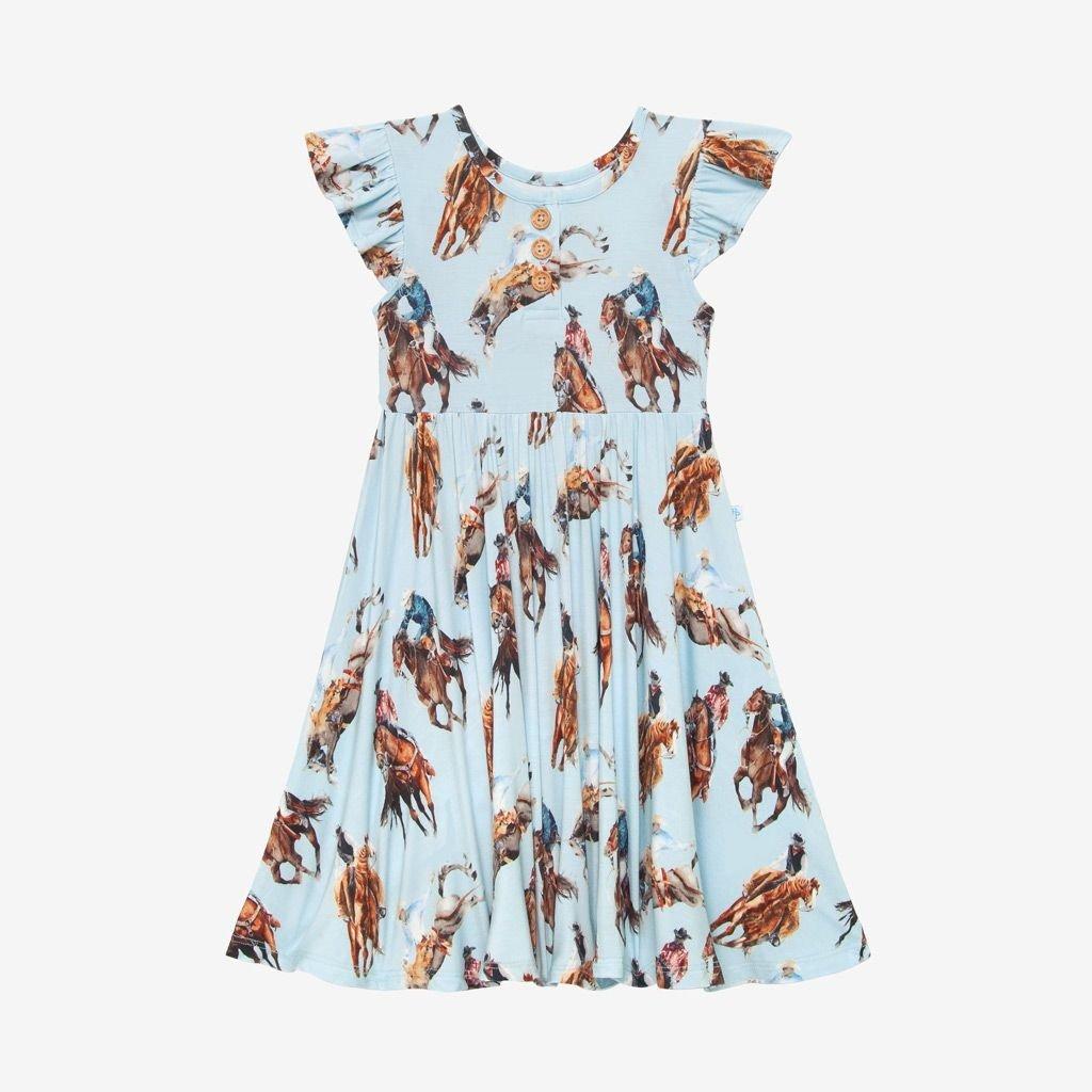 POSH PEANUT BRODY - RUFFLED CAPSLEEVE HENLEY TWIRL DRESS