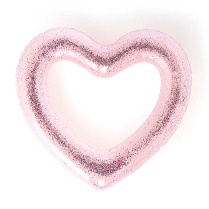 BANDO BEACH PLEASE! JUMBO HEART INNERTUBE - GLITTERBOMB PINK