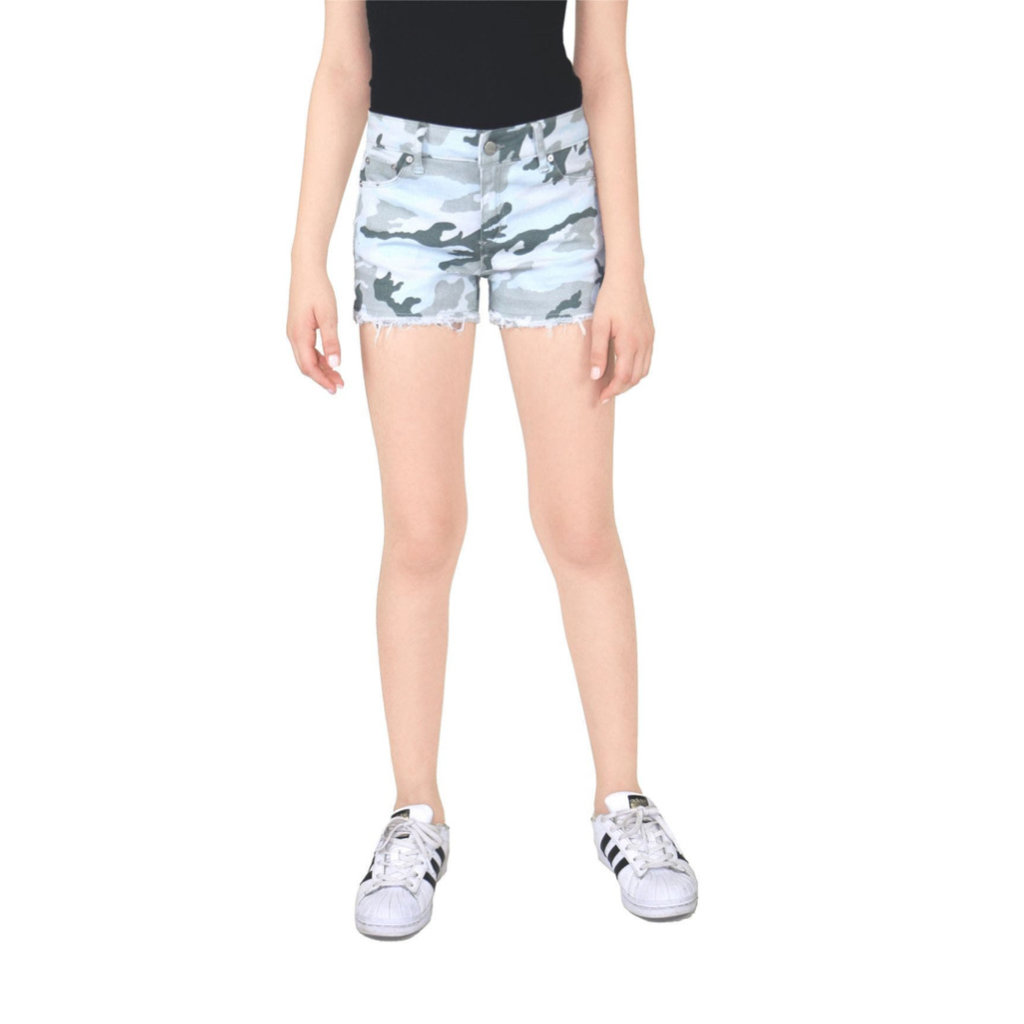 TRACTOR JEANS BRITTANY MID RISE 5PKT FRAY CAMO SHORT- WHT/GRY