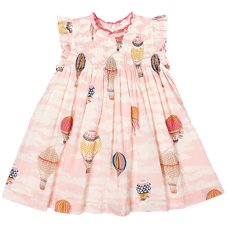 PINK CHICKEN STEVIE DRESS- HOT AIR BALLOONS