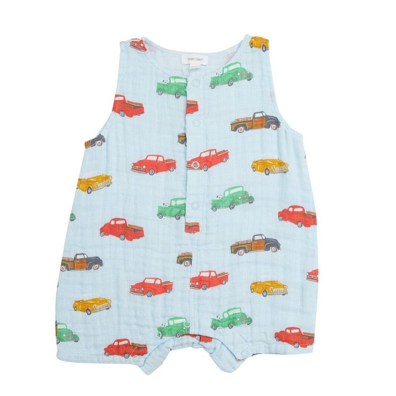 ANGEL DEAR VINTAGE TRUCKS SHORTIE ROMPER- BLUE
