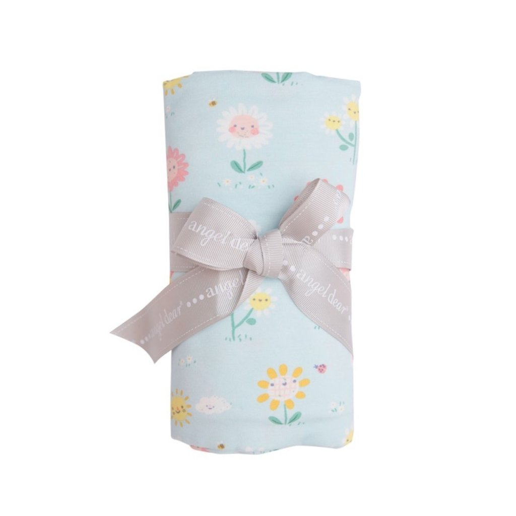 ANGEL DEAR HELLO DAISY SWADDLE BLANKET- BLUE