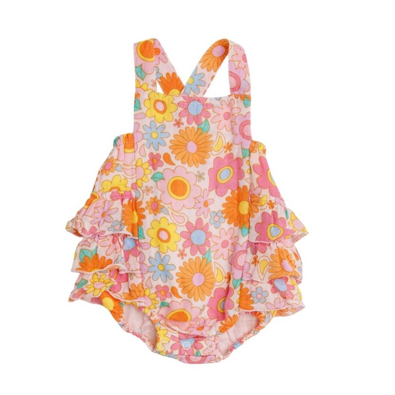 ANGEL DEAR RETRO DAISY RUFFLE SUNSUIT- PETAL PINK