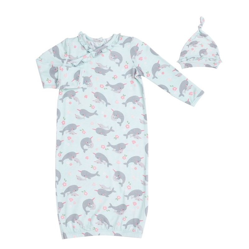 ANGEL DEAR NARWHALS KIMONO GOWN AND HAT- BLUE