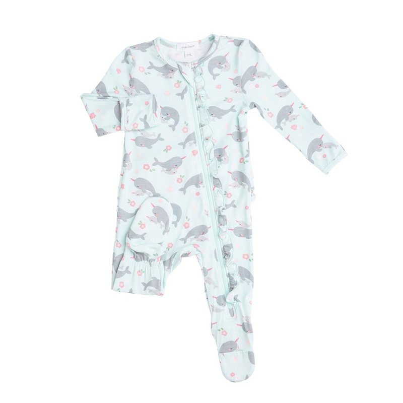 ANGEL DEAR NARWHALS RUFFLE FRONT ZIPPER FOOTIE